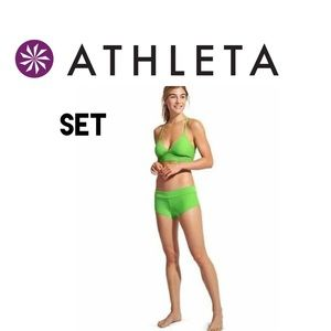 Athleta Lime Green Boy Short Bikini Set